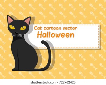 Cat cartoon vector halloween on background. Trick or Treat Concept