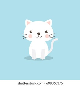 Cat character. A cute white kitten on sky blue background.