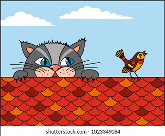 The cat is chasing the bird on the roof