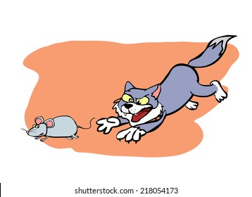 cat chasing the mouse
