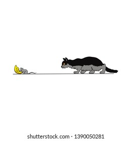 cat chasing mouse eating cheese