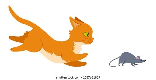 Cat chasing a mouse. Flat style isolated illustration on white background. Editable vector graphics in EPS 8.