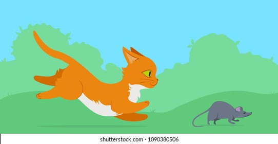 Cat chasing a mouse on a lawn. Flat style illustration. Editable vector graphics in EPS 8.