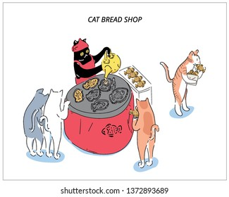 Cat chef of a fish bakery and waiting cat customers. hand drawn style vector design. a personification illustration.