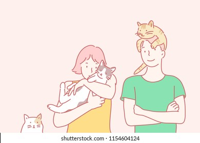 A cat climbing over a man's head. A woman holding a cute cat. hand drawn style vector design illustrations.