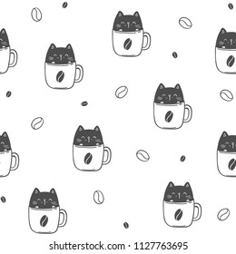 Cat in coffee cup, funny seamless pattern. Vector illustration EPS10