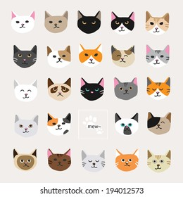 Cat collection.  It is a collection of fifteen cat faces.