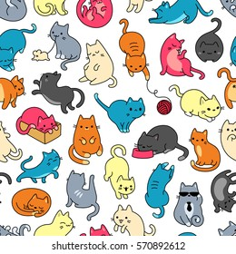 Cat Colorful Seamless Vector Pattern