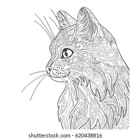 Cat coloring book page. Decorative doodle cat isolated on white.