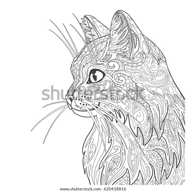 - Cat Coloring Book Page Decorative Doodle Stock Vector (Royalty Free)  620438816