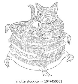 Cat Coloring Page. Adult Coloring Book idea. Antistress freehand sketch drawing with doodle and zentangle elements.