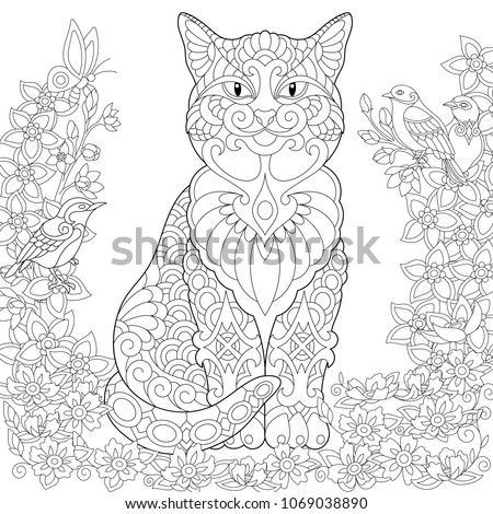 Cat Coloring Page Spring Garden Adult Book Idea Antistress Freehand Sketch Drawing