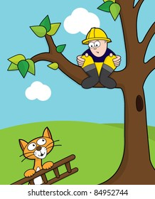 Cat coming to rescue a fireman stuck up a tree with ladder