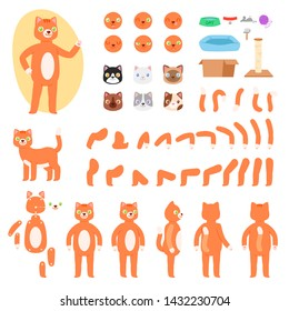Cat constructor vector animal character creation of feline kitty head paw pussycat tail and animalistic muzzle face emotions illustration set back front construction isolated on white background