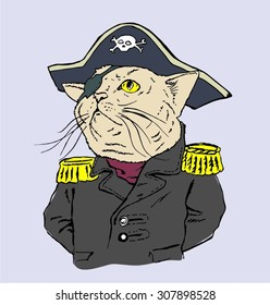 Cat in the costume of a pirate captain