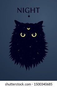 Cat with the crescent moon symbol on forehead. Angry cat silhouette with yellow eyes on the space background with stars and comets. Front view cat face. Vector Illustration.