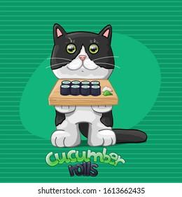 Cat with cucumber rolls. Vector Illustration