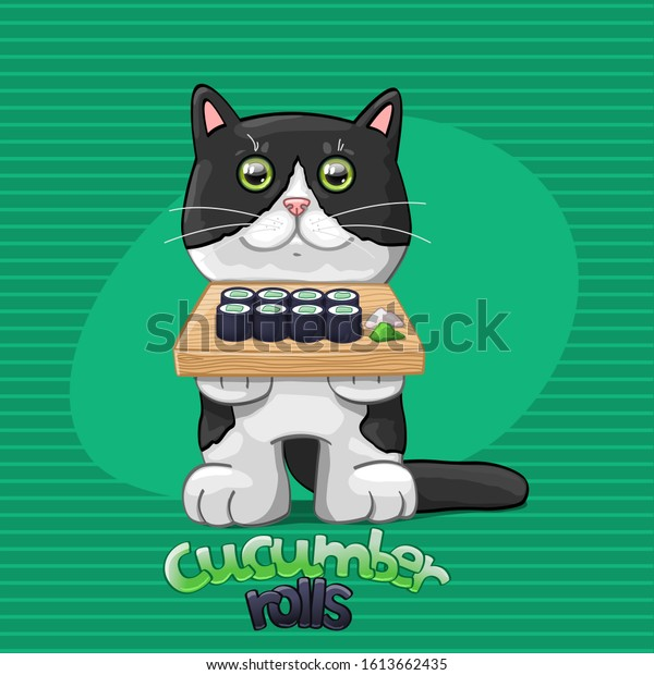 Cat with cucumber rolls. Vector Illustration