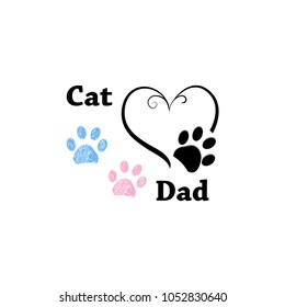 Cat Dad. Paw print with hearts. Happy Father's Day background