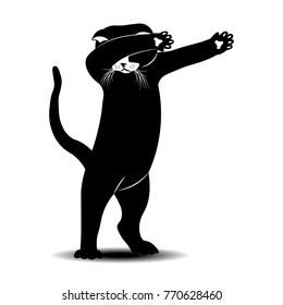 cat dance. vector illustration. half tone
