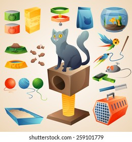 Cat with defferent cat stuff. Vector Illustration