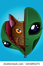 Cat disguised as an alien - vector, cartoon, fantasy illustration. Feline,funny kitty in an alien costume, extraterrestrial pet concept. UFO, abduction, connection.