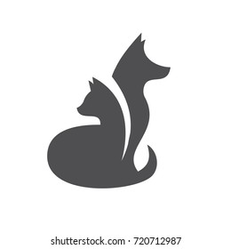 Cat and dog abstraction vector graphic logo flat style illustration art