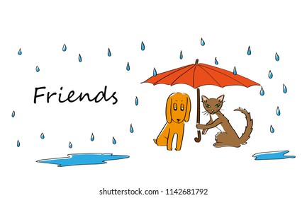cat and dog beeing friends in the rain. layers to custom easily.
