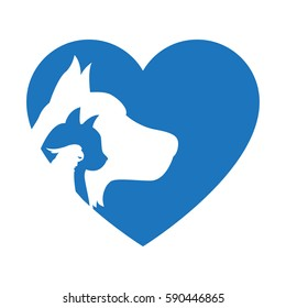Cat and Dog with bird. Blue Heart