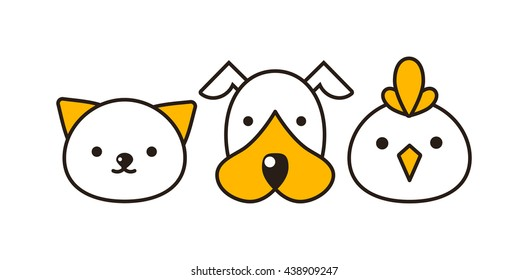 Cat, dog and bird vector illustration