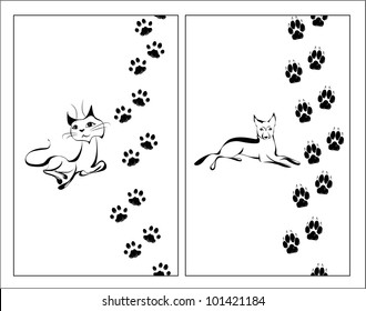 Cat and dog black and white illustration with their footsteps