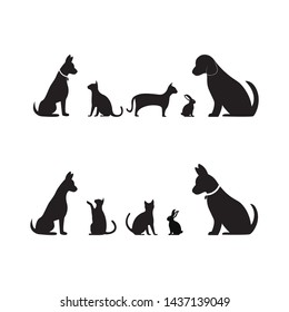 Cat, Dog and bunny vector silhouettes logo template