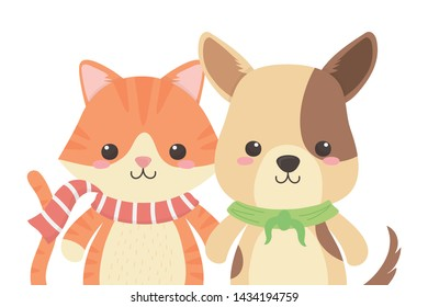 Cat and dog cartoon design