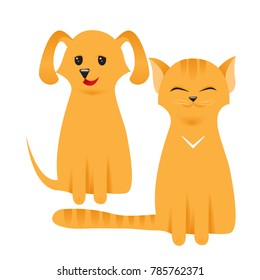 Cat and Dog characters. Best friend forever. Favorite pets. Isolated on white background. Flat vector illustration