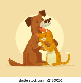 Cat and Dog characters best happy friends. Vector flat cartoon illustration