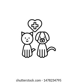 cat, dog, heart, veterinary icon. Simple thin line, outline vector of Petshop icons for UI and UX, website or mobile application