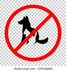 cat and dog icon. Not allowed, black object in red warning sign with transparent background