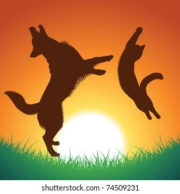 cat and dog jumping silhouettes. pets and background can be used separately, vector