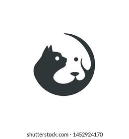 cat and dog logo, negative space concept