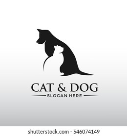 Cat and Dog logo template. flat design, simple and silhouette. Vector illustrator eps.10