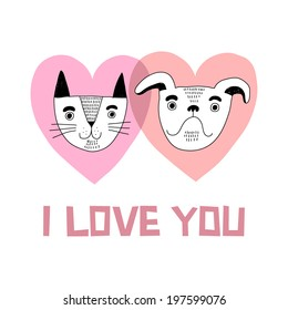 Cat and dog love vector card
