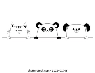 Cat dog panda bear happy face head icon set. Contour silhouette. Hands paw holding line. Cute cartoon pooch kitten character. Kawaii animal. Funny baby puppy kitty puppy. Flat White background. Vector