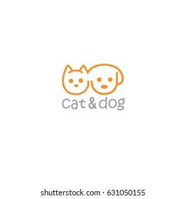 Cat and Dog Pet Logo Template Illustration