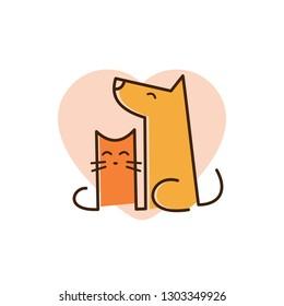 cat and dog pet love logo with line art concept design illustration. pet shop logo