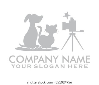 cat dog pet photography character illustration logo icon vector
