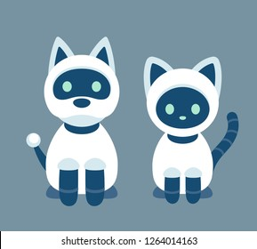 Cat and dog robot. Cute cartoon electronic pets, vector illustration in modern flat cartoon style.