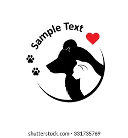 Cat and dog silhouettes. Round sighn, can use for pet shop logo, veterinary clinic, etc. Vector illustration.