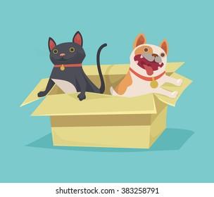 Cat and dog sitting in cardboard box. Vector flat illustration