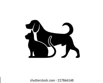 cat and dog symbol of veterinary medicine