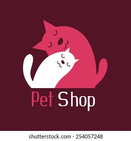 Cat and dog tender embrace, best friends, sign for pet shop logo, vector illustration